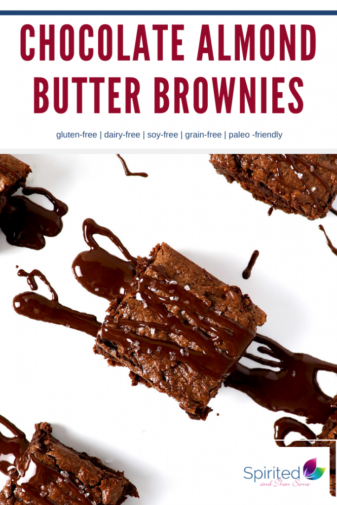 Chocolate Almond Butter Brownies are a delicious dairy-free chocolate chip dessert recipe! And these brownies come complete with a chocolate drizzle topped with flaky coconut! They are also made with almond flour and coconut flour, so they're gluten-free brownies and paleo-friendly! | spiritedandthensome.com