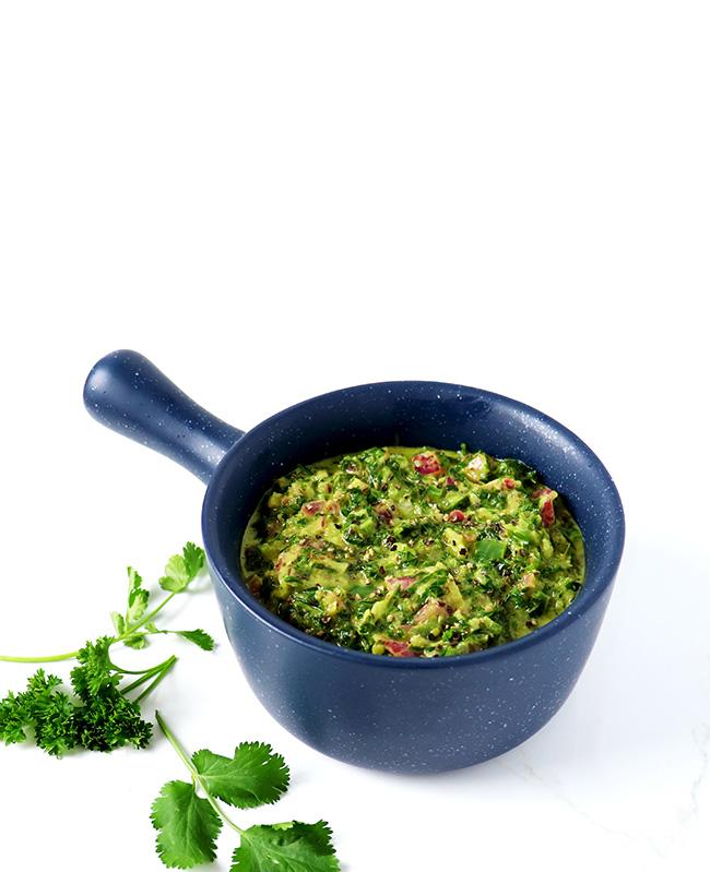 Spicy Chimichurri Verde Sauce is made with parsley, cilantro, oregano, garlic, and onion! | spiritedandthensome.com