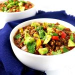 This tantalizing Homemade Paleo Chili Recipe is ready in under an hour and is made with seasoned ground beef, tomatoes, bell peppers, garlic, and onion! | spiritedandthensome.com