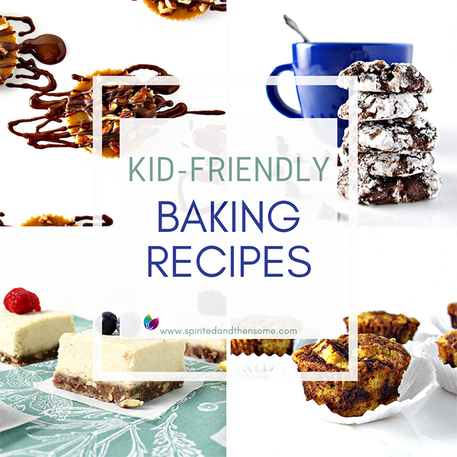 Kid-Friendly Baking Recipes you can do together as a family or the kids can do on their own! Gluten-free, dairy-free, vegan, or paleo! And all delicious!   spiritedandthensome.com