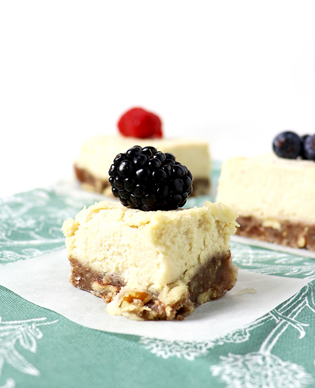 No-Bake Lemon Vanilla Cheesecake is made with cashews and pecans, and then topped with fresh fruit for a delicious dairy-free dessert recipe! | spiritedandthensome.com