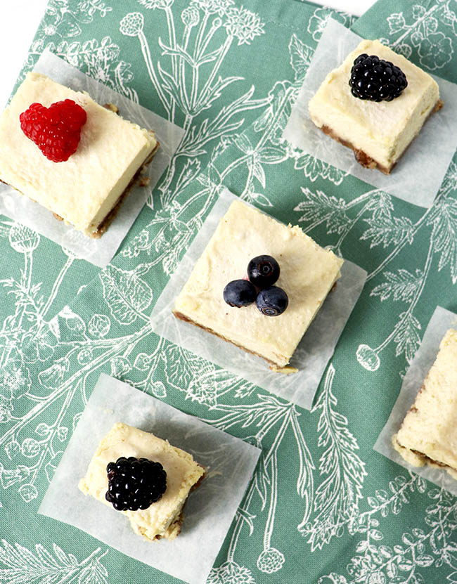 Fruit-topped Lemon Vanilla Cheesecake is a delicious, dairy-free no-bake dessert recipe! | spiritedandthensome.com