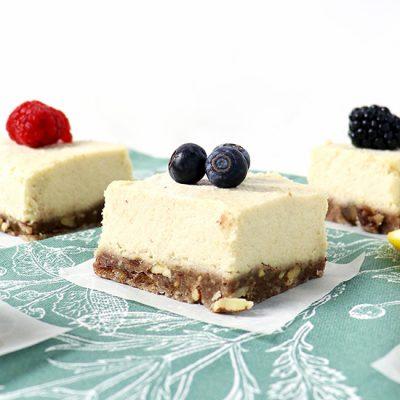 Lemon Vanilla Cheesecake Bars {VG + GF}
