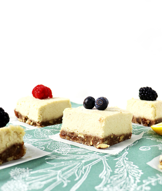 No-Bake Vegan Lemon Vanilla Cheesecake topped with fruit and sweetened with dates and agave nectar! | spiritedandthensome.com