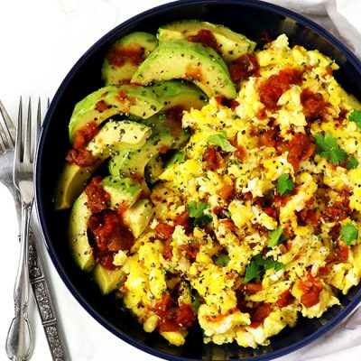 Spicy Avocado Scrambled Eggs {Paleo}