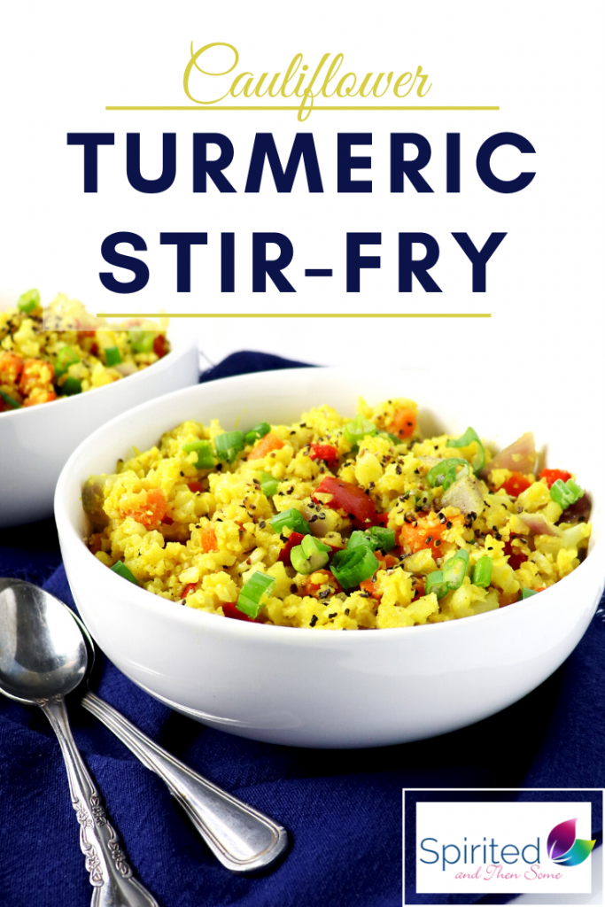 This paleo Cauliflower Turmeric Stir-Fry is a tasty way to use up veggies! | spiritedandthensomec.com
