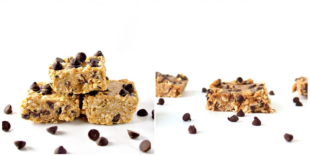 Two images of chocolate chip bars, a thicker dessert bar prepared in an 8x8 pan and a thinner dessert or breakfast bar prepared in a 9x9 pan.