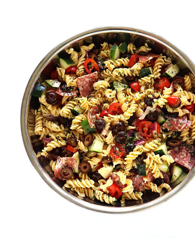 Italian Pasta Salad recipe ingredients in a stainless steel bowl