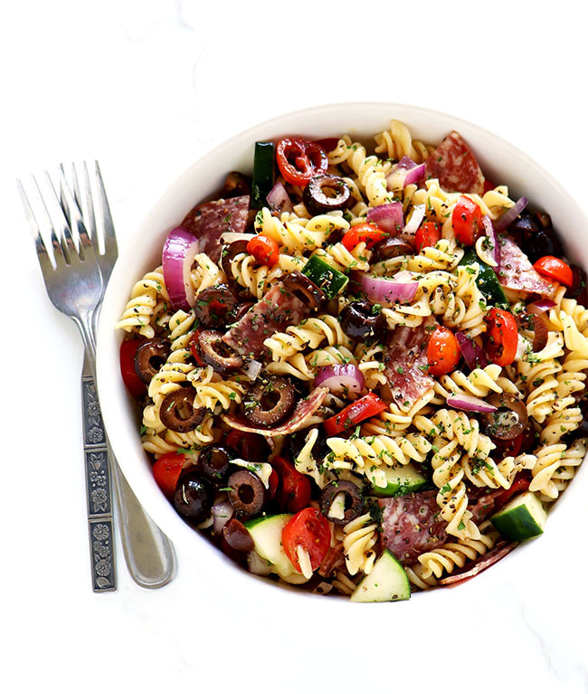 Pasta salad in a while porcelain bowl