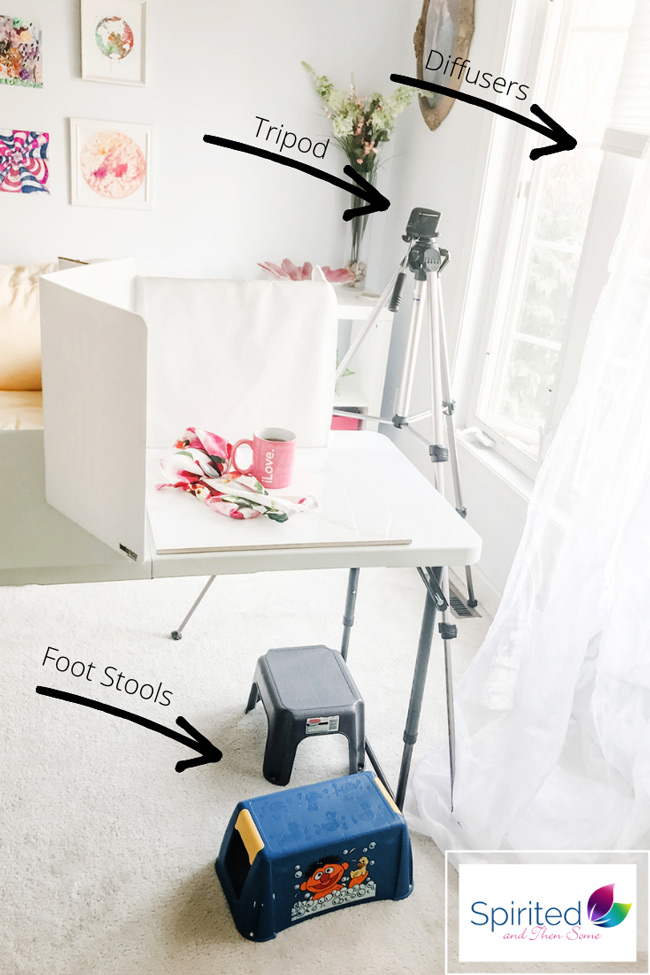 Natural light food photography studio setup with labels on each piece of equipment.