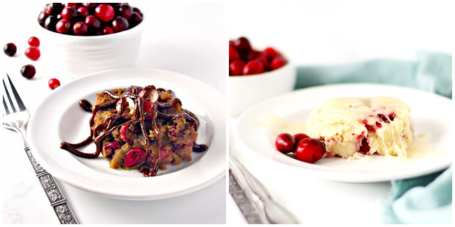 Side-by-side comparison of cranberry cake with butter sauce made with coconut sugar or monkfruit sweetener.