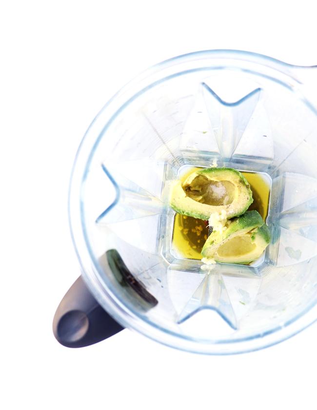 Lemon Avocado Dip ingredients in a Vitamix.