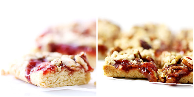 Side-by-side comparison of Strawberry Jam Bars made with either vanilla or cinnamon.
