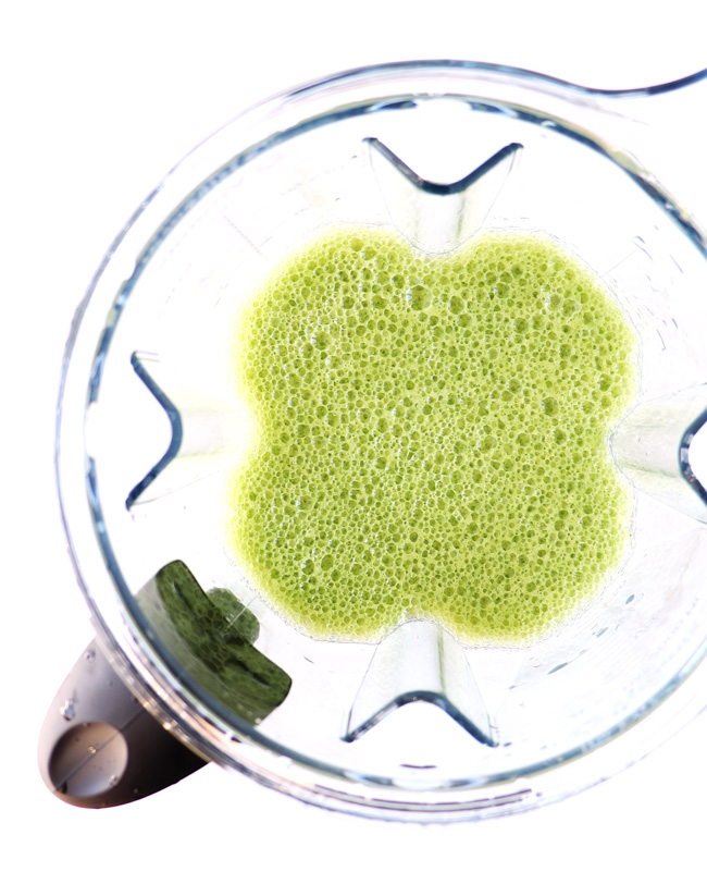 Cucumber Mint Cooler ingredients blended in a Vitamix.