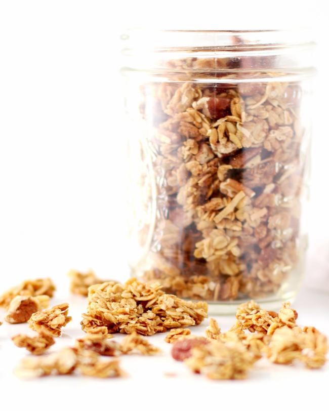 Eye-level image of homemade gluten-free crunchy granola clusters.