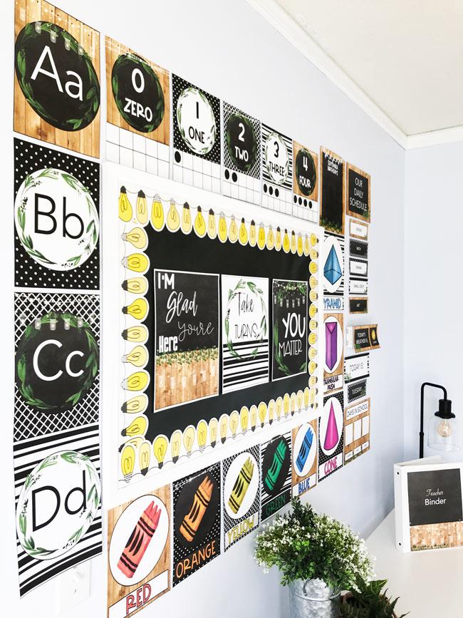Festive Farmhouse Classroom decor theme setup with bulletin board display and teacher binder cover template.